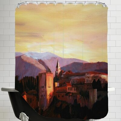 Markus Bleichner Talty Alhambra Granada Spain with Snow Covered Mountains Shower Curtain