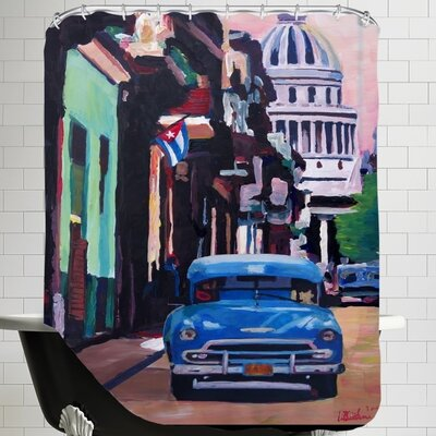 Markus Bleichner Cuban Old-timer Street Scene in Havanna Cuba with Buena Vista Feeling Poster 1 Shower Curtain