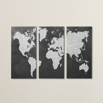 'Gray Map' Print Multi-Piece on Wrapped Canvas