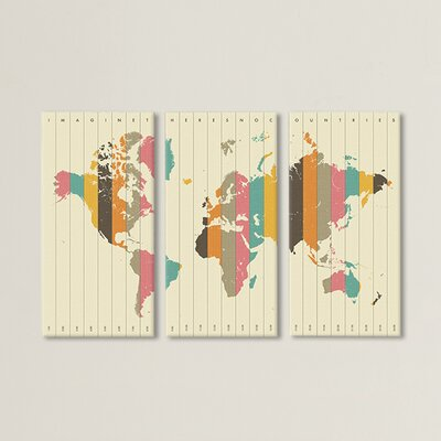2015 Time Zones 3 Piece Graphic Art on Wrapped Canvas Set