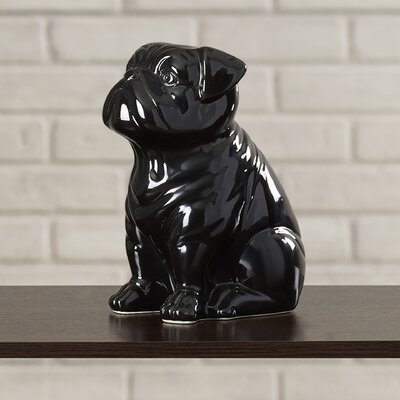 Smooth and Shiny Ceramic Sitting Bull Dog Figurine BRSD6965 28007547