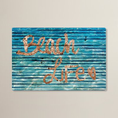 'Beach Life Stripes' Textual Art on Plaque Size: 24