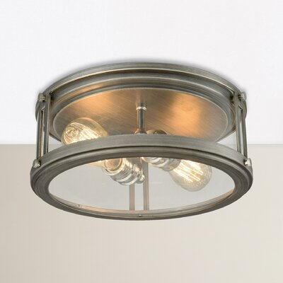 Gines 2-Light Flush Mount Finish: Weathered Zinc