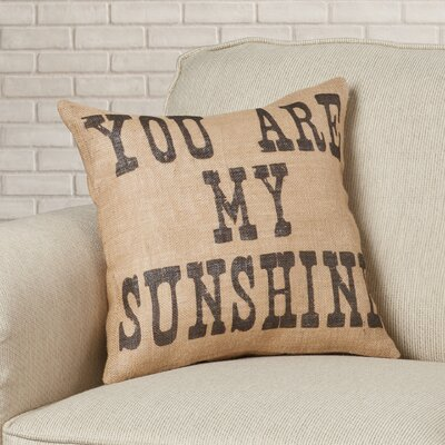 Amburgey You are My Sunshine Burlap Throw Pillow Color: Black / Beige