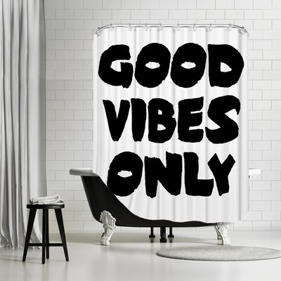 Ikonolexi Vibes 1 Shower Curtain Color: Black