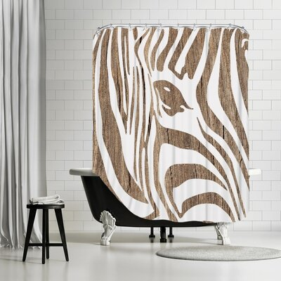 Ikonolexi Zebra 3 Shower Curtain Color: Brown/White