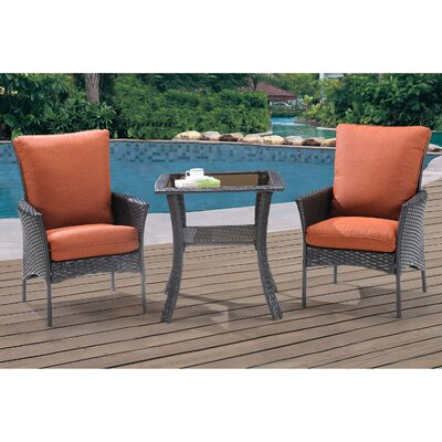 Billington 3 Piece Bistro Set with Cushions