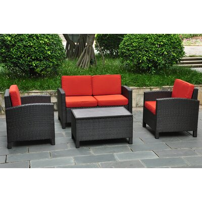 Katzer 4 Piece Deep Seating Group with Cushion Finish: Black / Spice Red