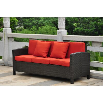 Katzer Sofa with Cushions Finish: Black Antique / Red