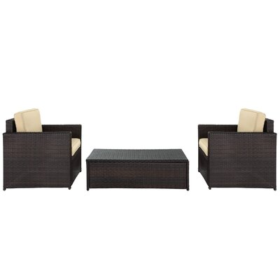 Belton 3 Piece Brown Deep Seating Group with Cushion Fabric: Sand