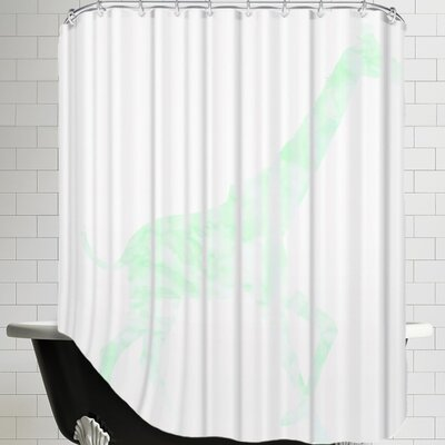 Peach & Gold Mint Giraffe Shower Curtain