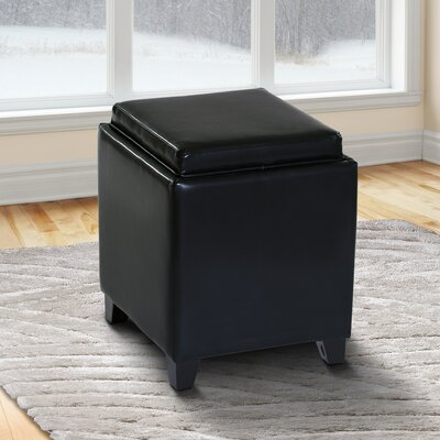 Carroll Storage Ottoman with Tray Upholstery: Black