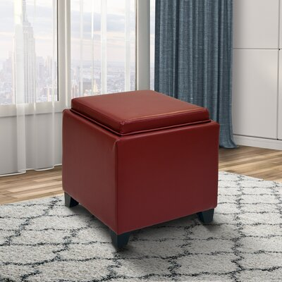 Carroll Storage Ottoman with Tray Upholstery: Red