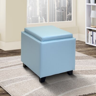 Carroll Storage Ottoman with Tray Upholstery: Sky Blue