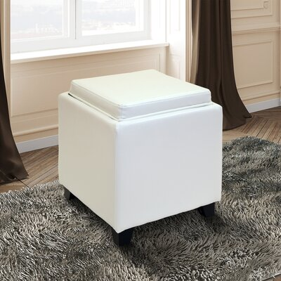 Carroll Storage Ottoman with Tray Upholstery: White
