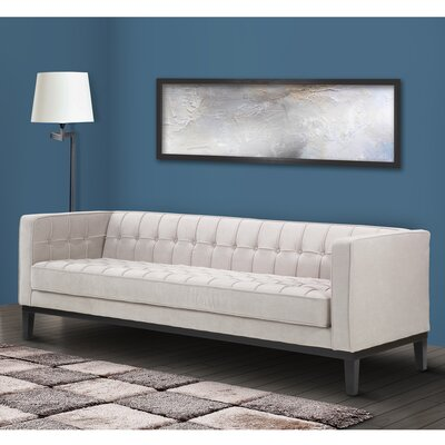 Verdi Tufted Chesterfield Sofa Upholstery: Light Cream
