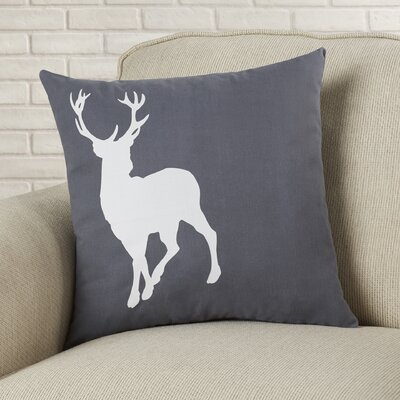 Birkholz Deer Cotton Throw Pillow Color: Gunmetal Grey / White