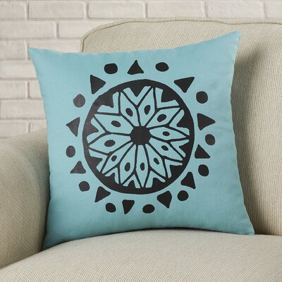 Alcantar Bohemian Cotton Throw Pillow Color: Aqua / Black
