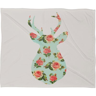 Ostrom Floral Deer Silhouette Plush Fleece Throw Blanket Size: Medium