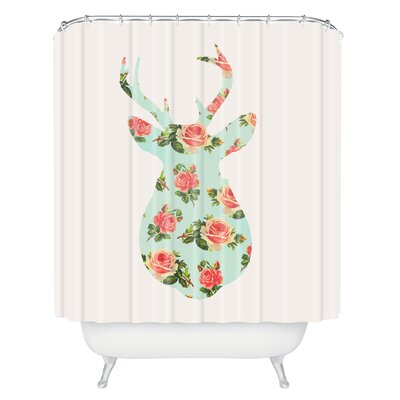 Gadd Floral Deer Silhouette Shower Curtain