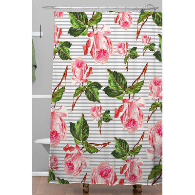 Furness Roses and Stripes Polyester Shower Curtain