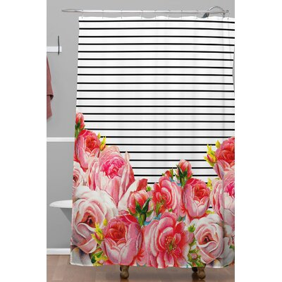 Brayden Studio Deleon Bold Floral and Stripes Polyester Shower Curtain