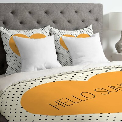 Begaye Hello Sunshine Heart Lightweight Duvet Cover Size: King