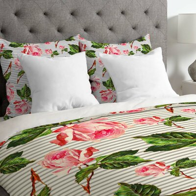 Gaitan Roses and Stripes Lightweight Duvet Cover Size: Queen