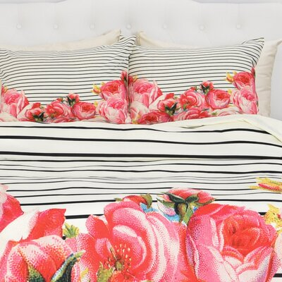 Atkin Bold Floral and Stripes Duvet Cover Size: King