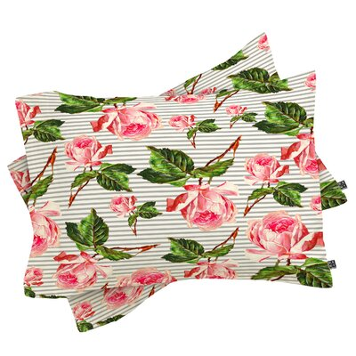 Cardona Roses and Stripes Pillowcase Size: King