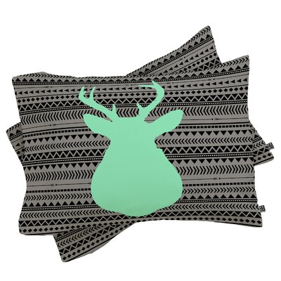 Elrod Deer and Aztec Pillowcase Size: King