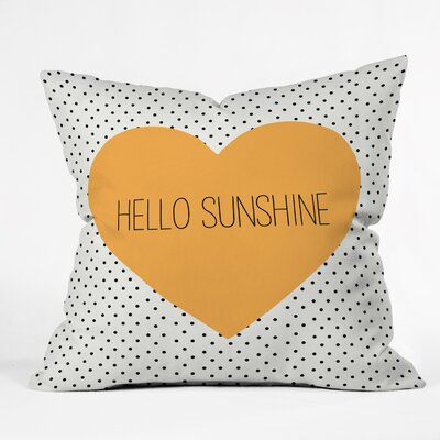 Bodine Hello Sunshine Heart Throw Pillow Size: 26 H x 26 W x 7 D