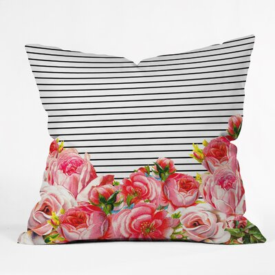 Delaughter Bold Floral and Stripes Throw Pillow Size: 18 H x 18 W x 5 D