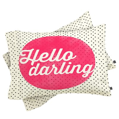 Edelen Hello Darling Dots Pillowcase Size: King