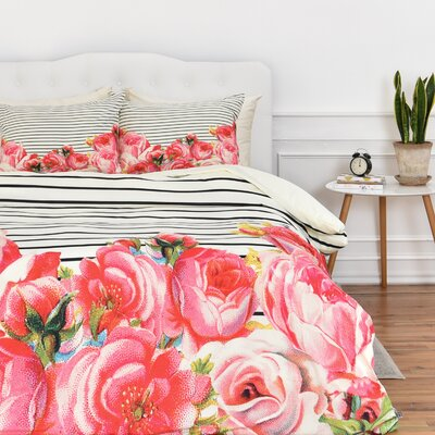 Mouton Bold Floral and Stripes Duvet Cover Set Size: King