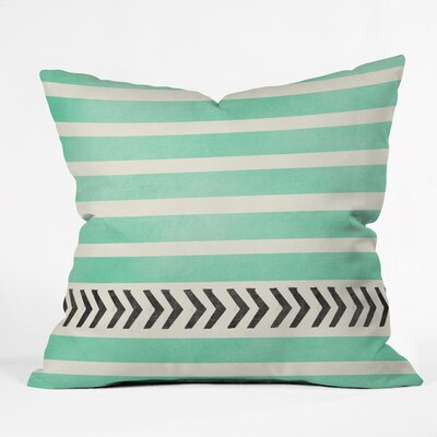 Mouton Mint Stripes and Arrows Outdoor Throw Pillow Size: 18 H x 18 W x 5 D