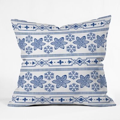Almon Deep Blue Snowdrift Indoor/Outdoor Throw Pillow Size: Medium