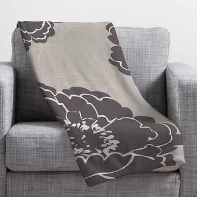 Devos Winter Peony Throw Blanket Size: 60 H x 50 W