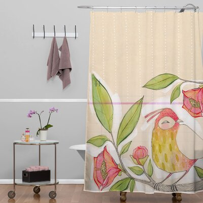 Donmoyer Dantini Little Bird On A Flowery Branch Shower Curtain