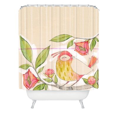 Donmoyer Little Bird On a Flowery Branch Extra Long Shower Curtain