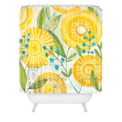 Donmoyer Sun Burst Flowers Extra Long Shower Curtain