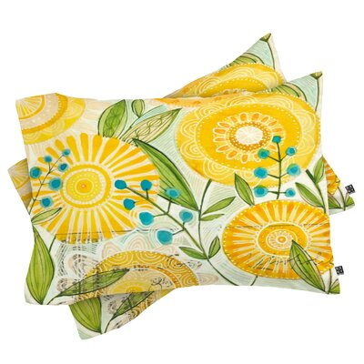 Donmoyer Sun Burst Flowers Pillowcase Size: King
