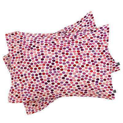 Avent Watercolor Dots Berry Pillowcase Size: King