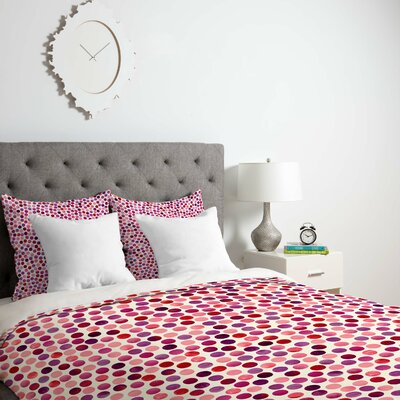 Watercolor Dots Berry Duvet Cover Size: Queen, Fabric: Lightweight