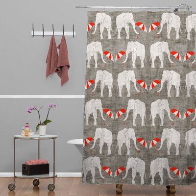 Avalos Elephant and Umbrella Shower Curtain