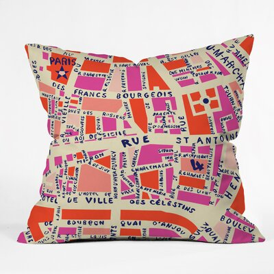 Davila Paris Map Pink Indoor/Outdoor Throw Pillow Size: Large