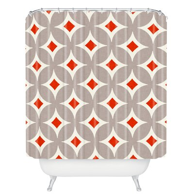 Brayden Studio Cooney Vermillion Diamond Shower Curtain