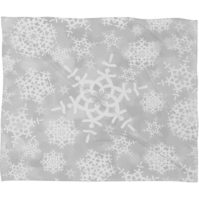 Appell Snow Flurries Plush Fleece Throw Blanket Color: Gray, Size: Medium