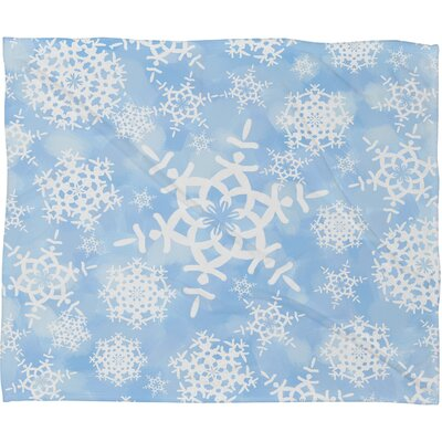 Appell Snow Flurries Plush Fleece Throw Blanket Size: Large, Color: Blue