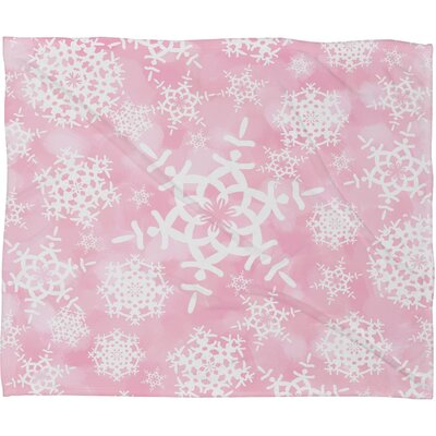 Appell Snow Flurries Plush Fleece Throw Blanket Size: Small, Color: Pink